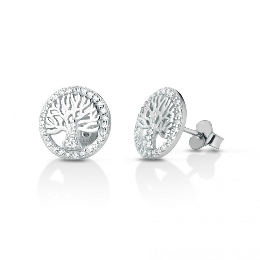 ONE JEWERLY Orecchini Albero della Vita Donna AS0950 argento 925 zirconia bianco