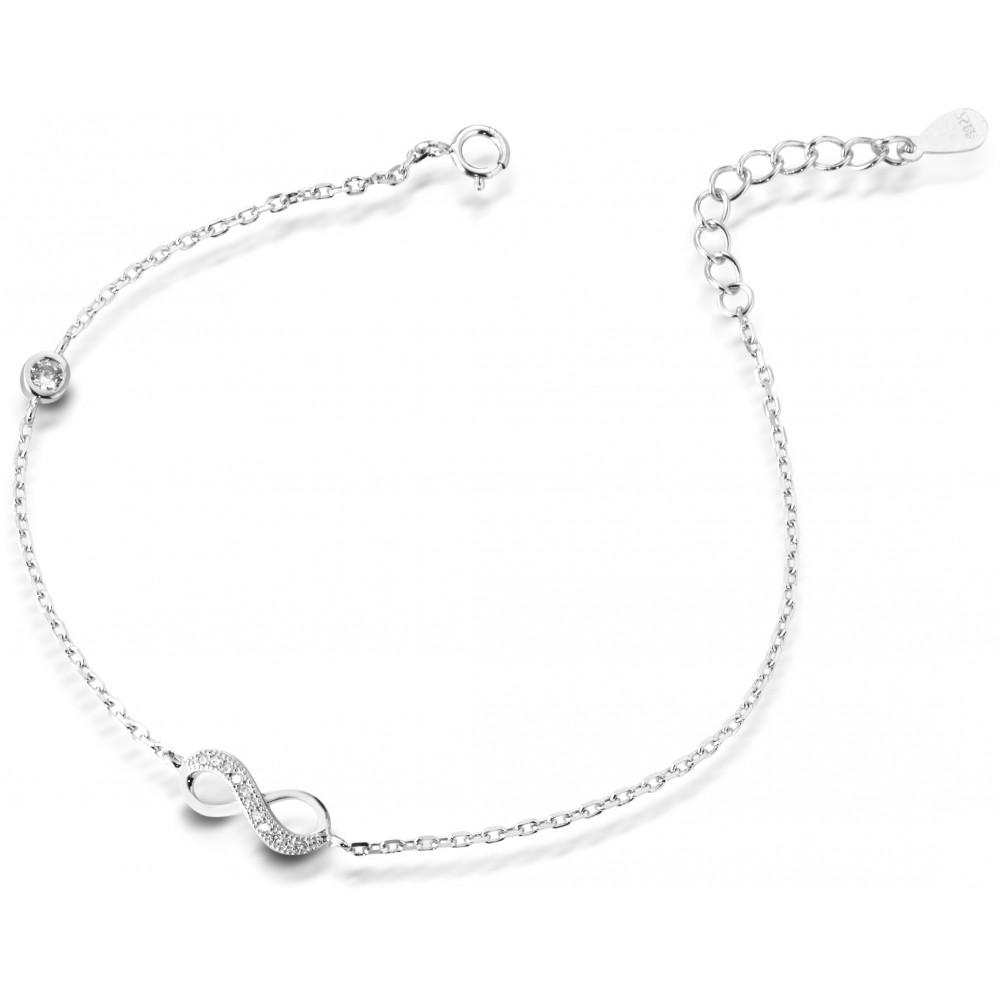 ONE JEWERLY Bracciale Infinito Donna AS0834 argento 925 zirconia bianco