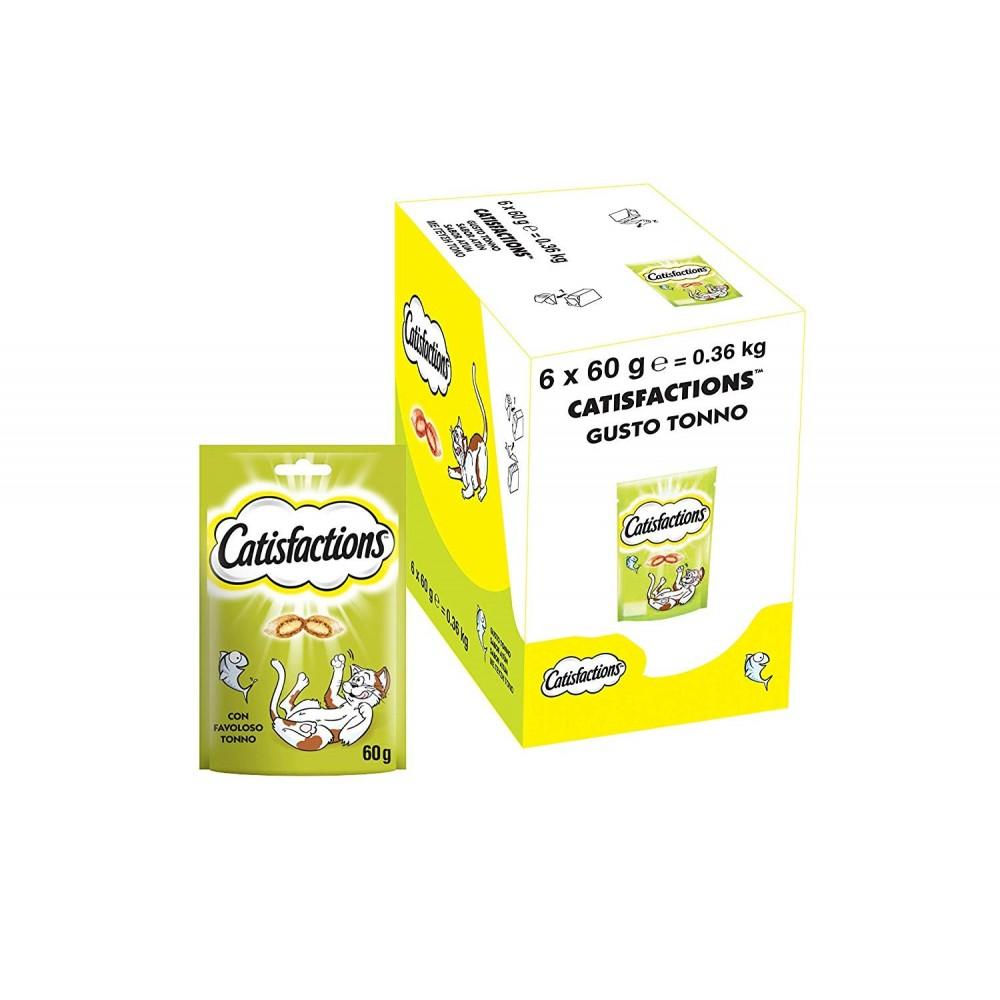 Pack da 6x Snack per gatto Catisfactions 133361 bocconcini con Tonno 60g