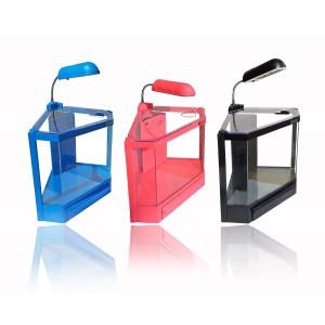 Acquario in plastica rigida 4,5 litri  6 led 2w con filtro vari colori risparmio energetico 28,5 x 18,6 x 24,5 cm