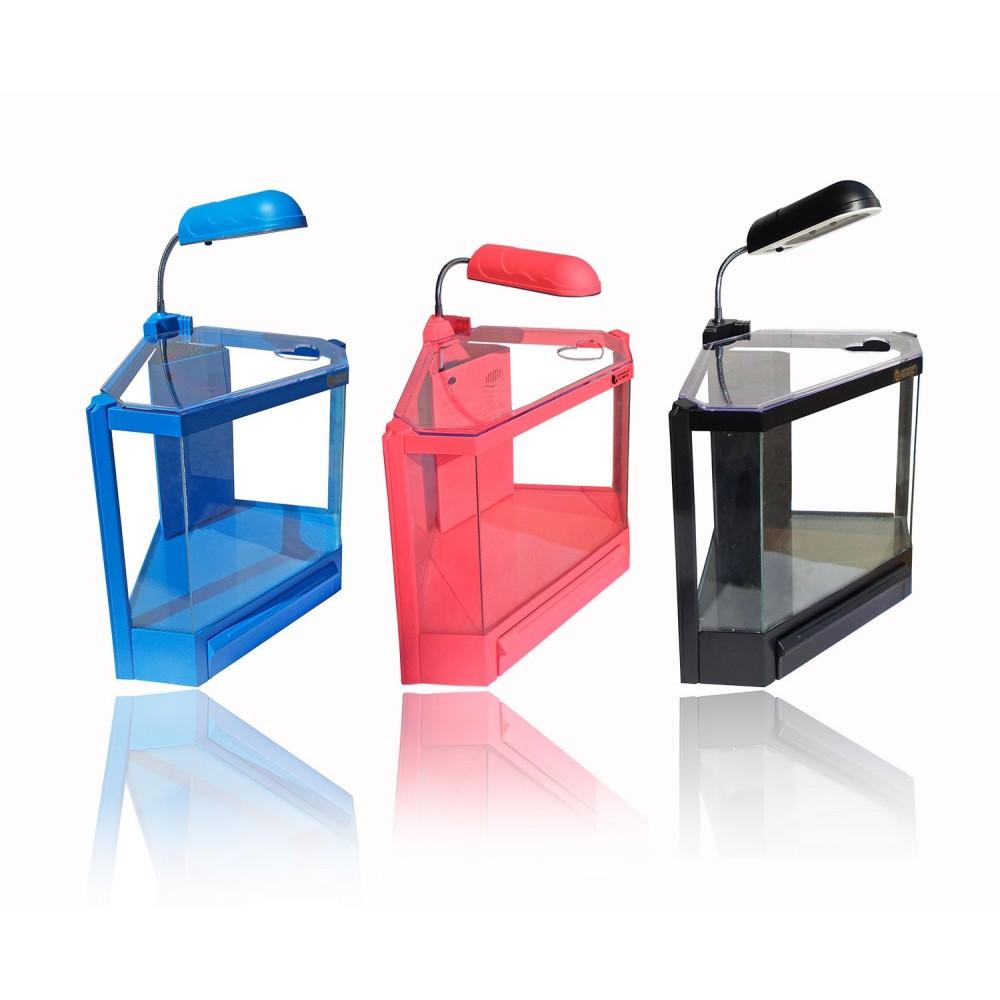 Acquario in plastica rigida 4,5 litri 6 led 2w con filtro risparmio energetico 28,5 x 18,6 x 24,5 cm