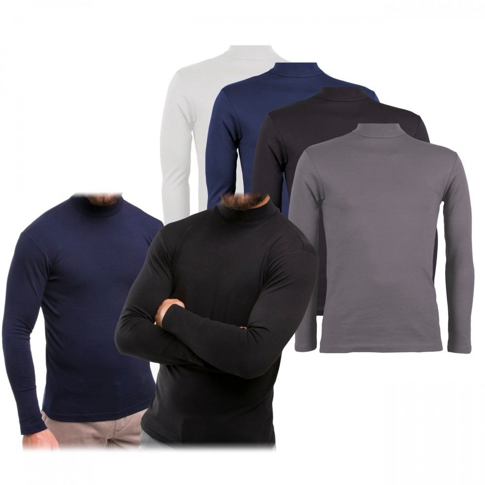 Maglia da uomo mod. Raphael VKA28 interno felpato slim fit a mezzo collo