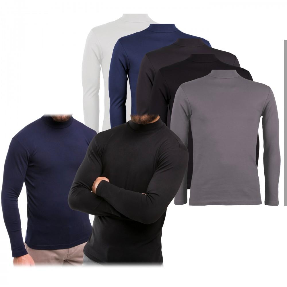 Pack da 5 maglie mod. Raphael VKA28 interno felpato slim fit a mezzo collo