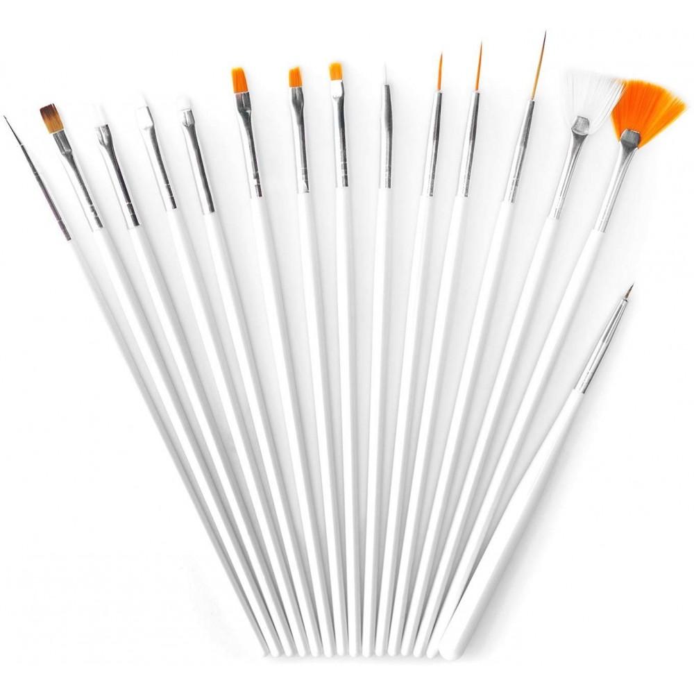 Set 15 pennelli nail art ricostruzione unghie