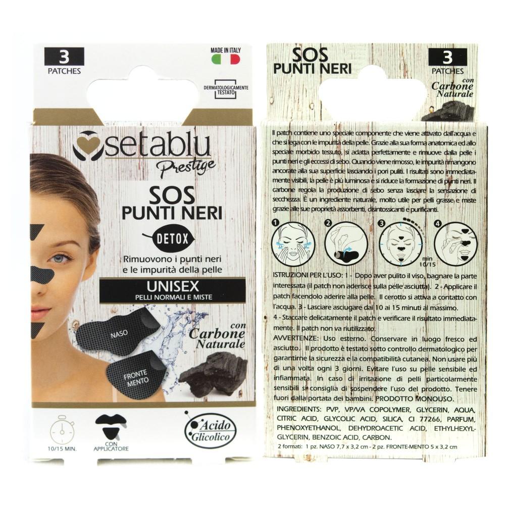 SETABLU Prestige 939176 SOS Rimozione Punti Neri 3 Cerotti al Carbone UNISEX