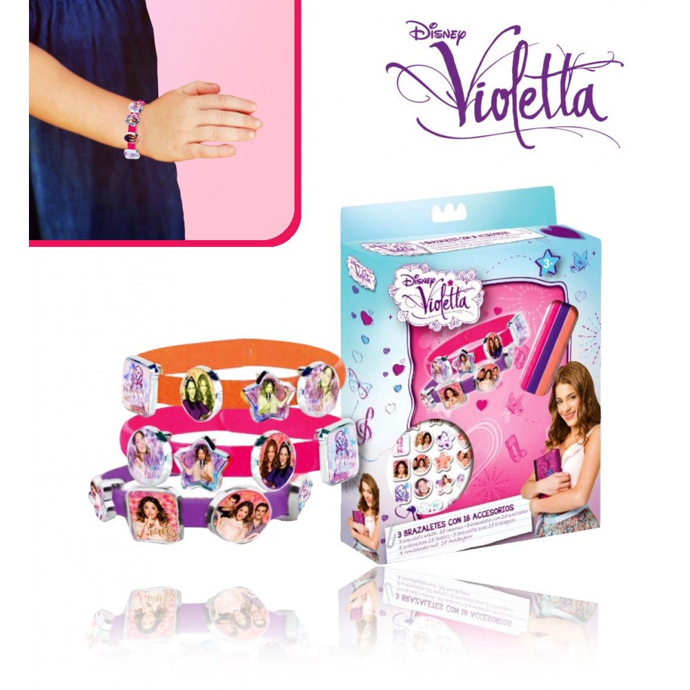 Set 3 bracciali in silicone 18 VIOLETTA Disney V-Lovers WD95001