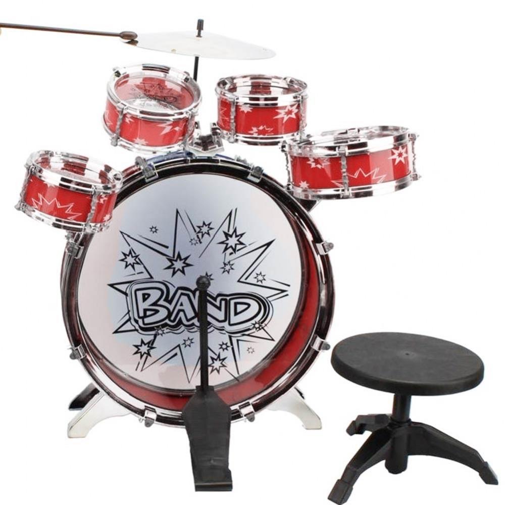 Rock Baby band 100690 Batteria 6 elementi con sgabello piatto e bacchette