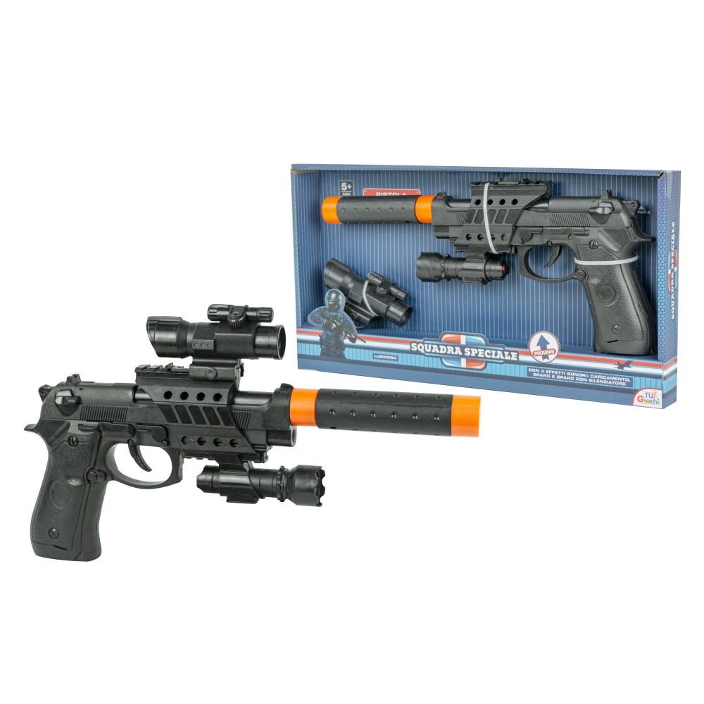 Pistola giocattolo Pk3 per bambini 101276 con luci e suoni silenziatore