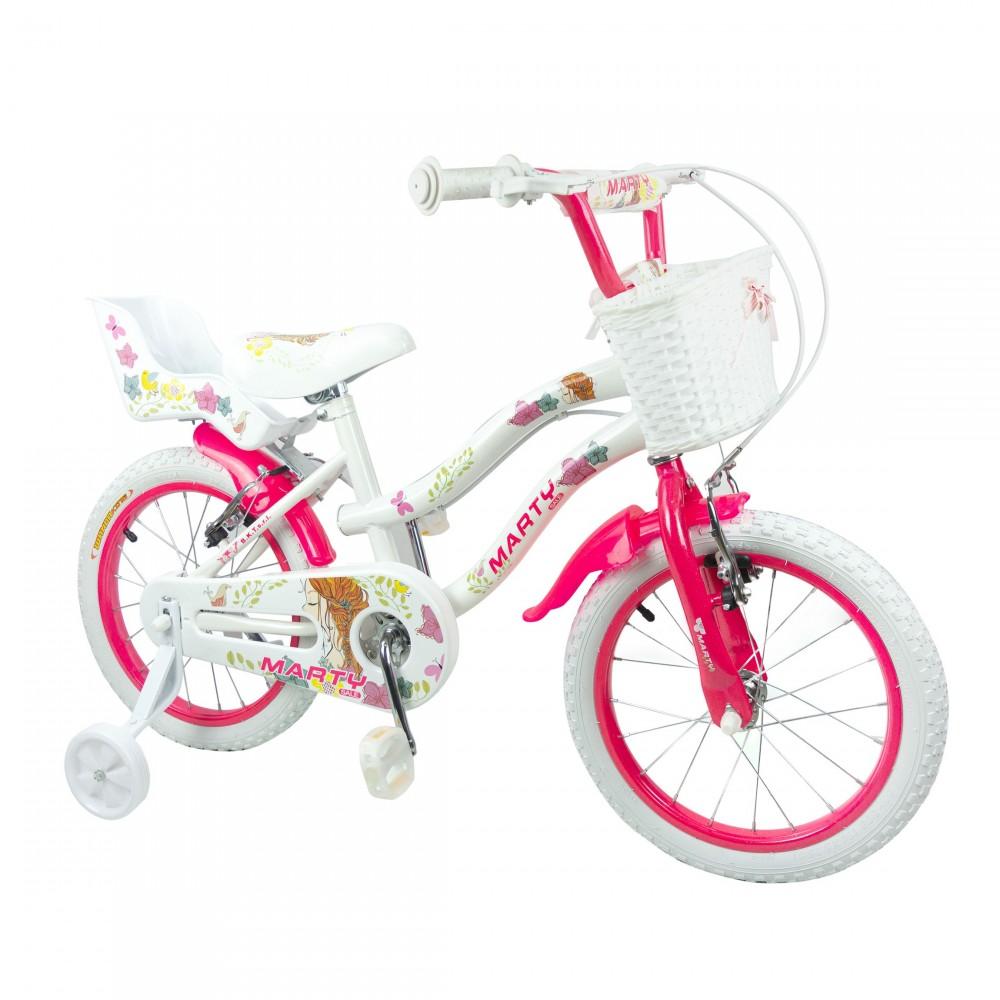 Bici da Bambina MARTY misura 16 da 5-8 anni con cestino e portabambole