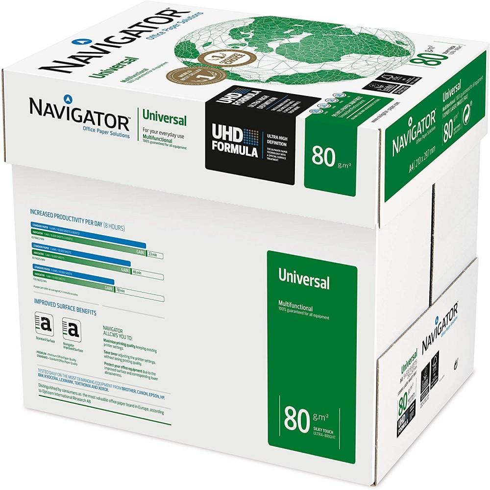 NAVIGATOR Pack 5x Risme di carta formato A4 500 fogli da 80g Universal Copy