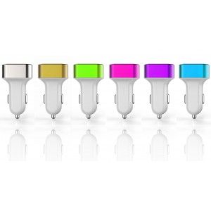 Presa accendisigari 3 porte usb caricatore smartphone fotocamera pc 6 colori