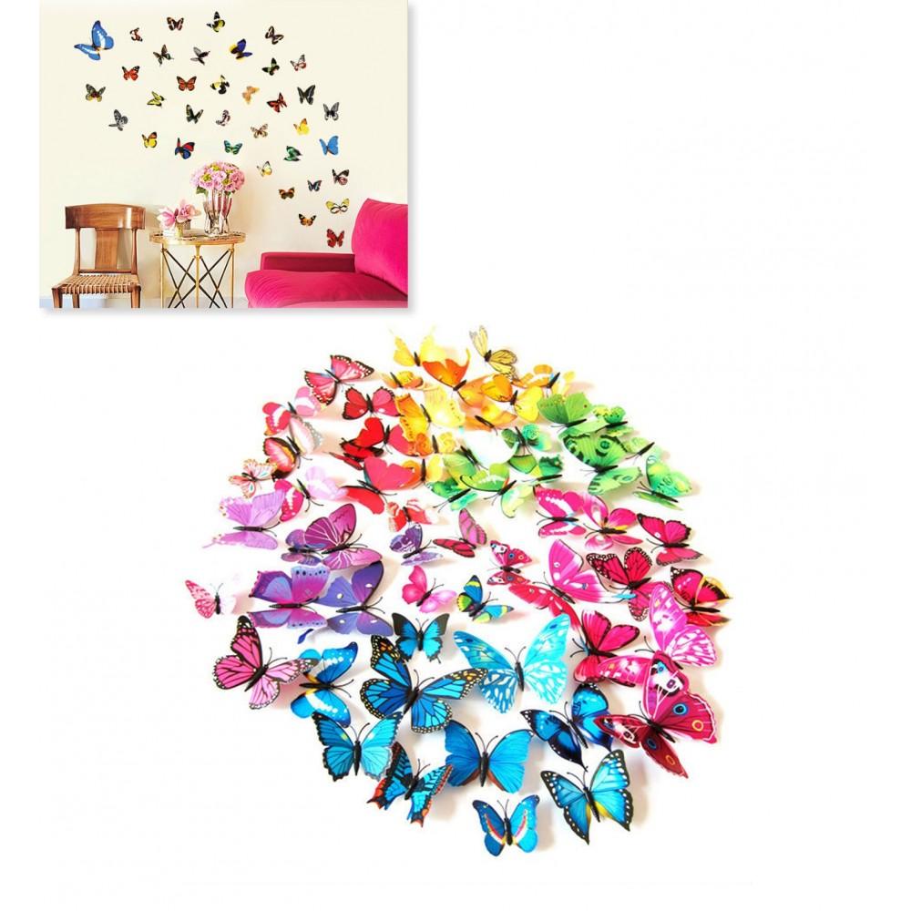 Kit 12 farfalle 3D adesivi per pareti vari colori decorazionee