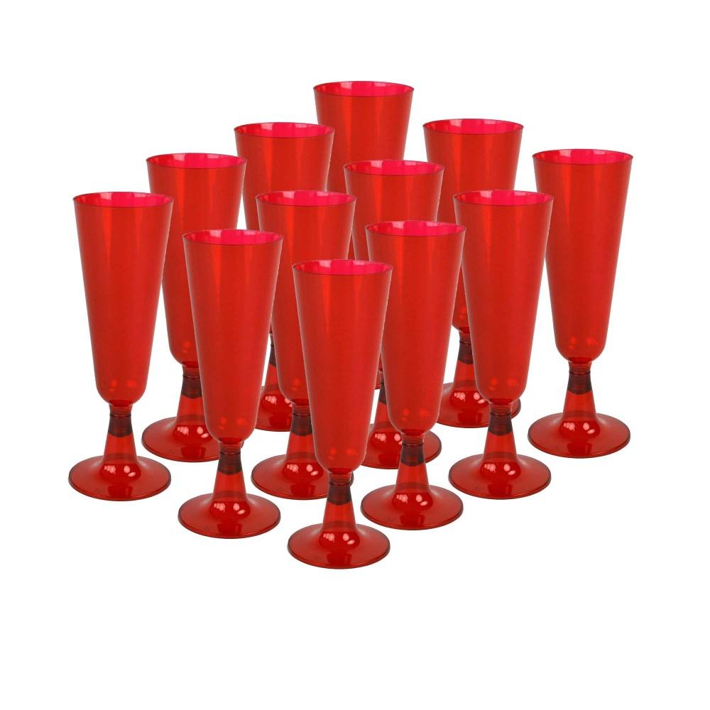 Set di 12 pz Flute Rossi plastica dura 407547 bicchieri champagne natale