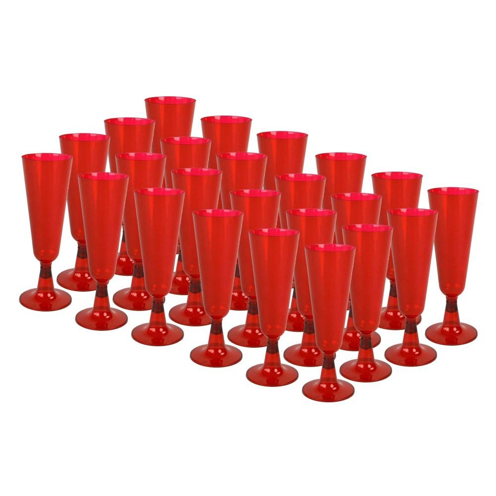 Set di 24 pz Flute Rossi plastica dura 407547 bicchieri champagne natale