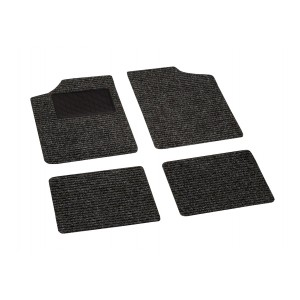 Set completo di 4 tappetini auto in moquette universali con salvatacco in gomma lato guidatore
