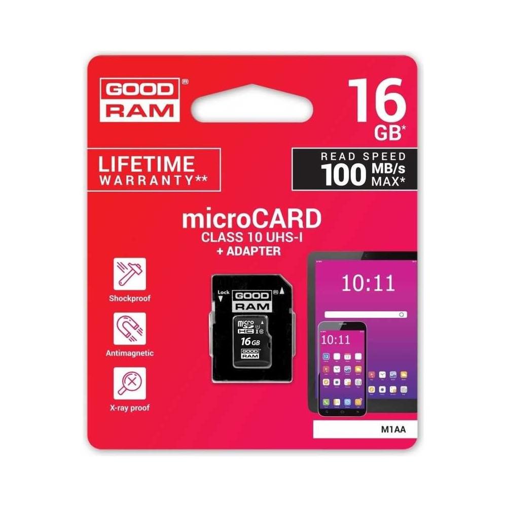 Scheda memoria GOOD RAM microsd card 16 GB con adattatore SD Classe 10 100MB/s