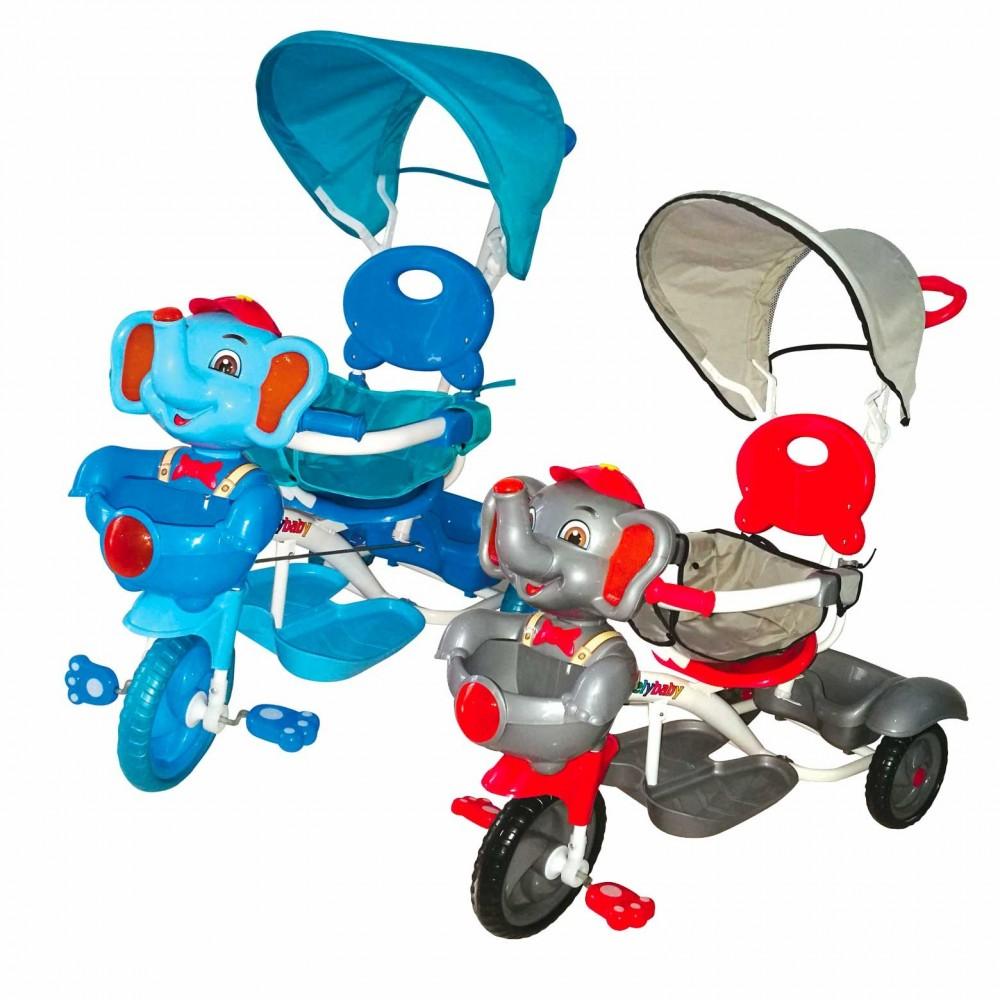 Triciclo ELEFANTINO a spinta con pedali GVC-520 suoni luci e tettuccio parasole