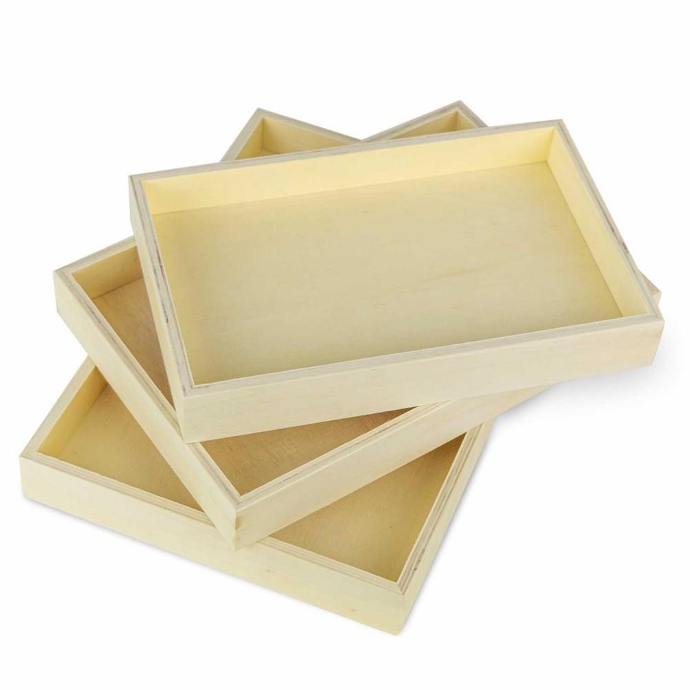 Cuori Foglio Set 3 vassoi 193051 per Decoupage in legno chiaro poroso 3 misure