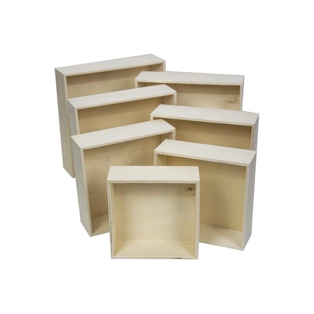 Cuori Foglio Set 7 Cassette 193037 per Decoupage in legno chiaro poroso 7 misure