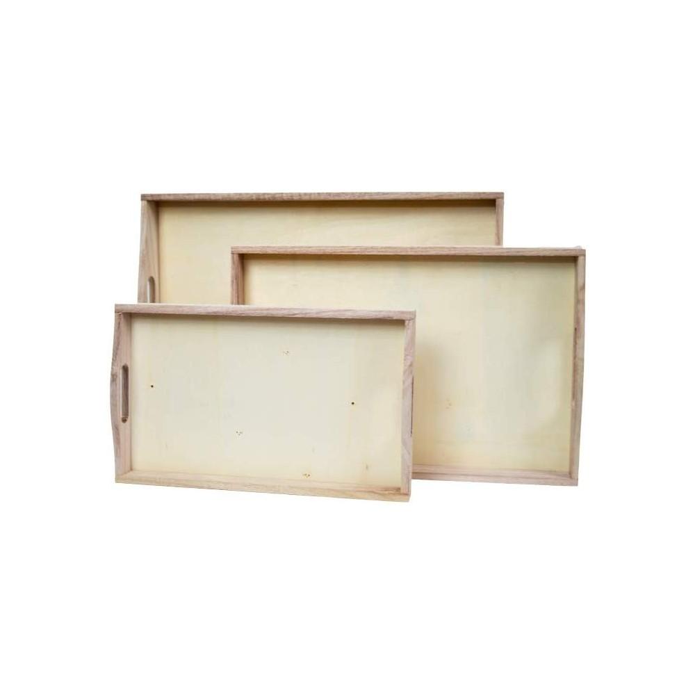 Cuori Foglio Set 3 Vassoi 193006 Decoupage legno poroso con manici shabby