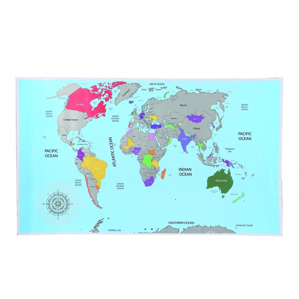 Mappamondo da grattare 337460 Gratta i posti che visitati XXL colori 88x52 cm