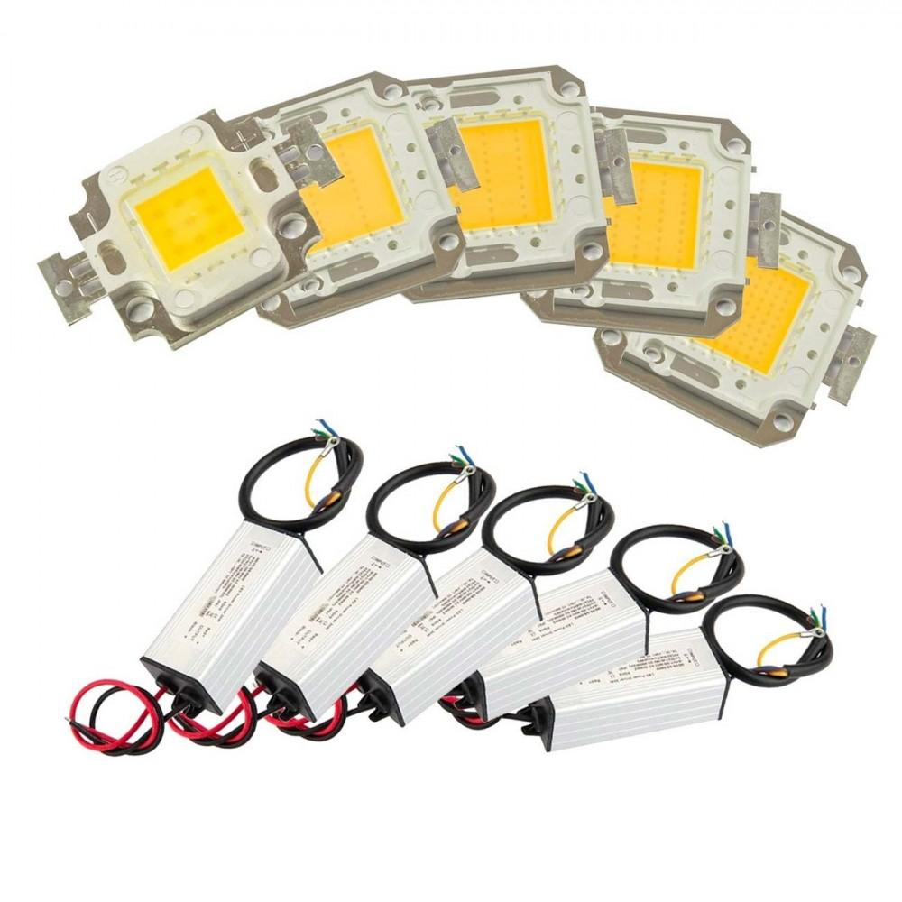 Kit piastra Led + driver alimentatore fari led luce calda 3000k 10-20-30-50-100W