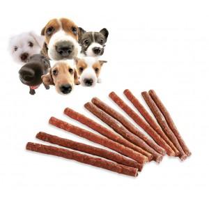 Pack 10 Bastoncini stick di carne essiccata per cani deliziosi snacks premio per animali