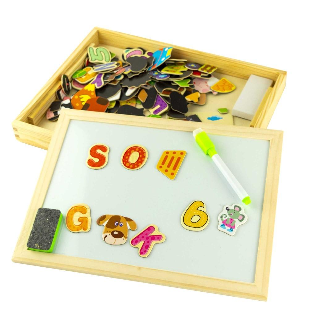 Gioco per bambini in legno con puzzle magnetici cancellino gessetti e penna 90pz