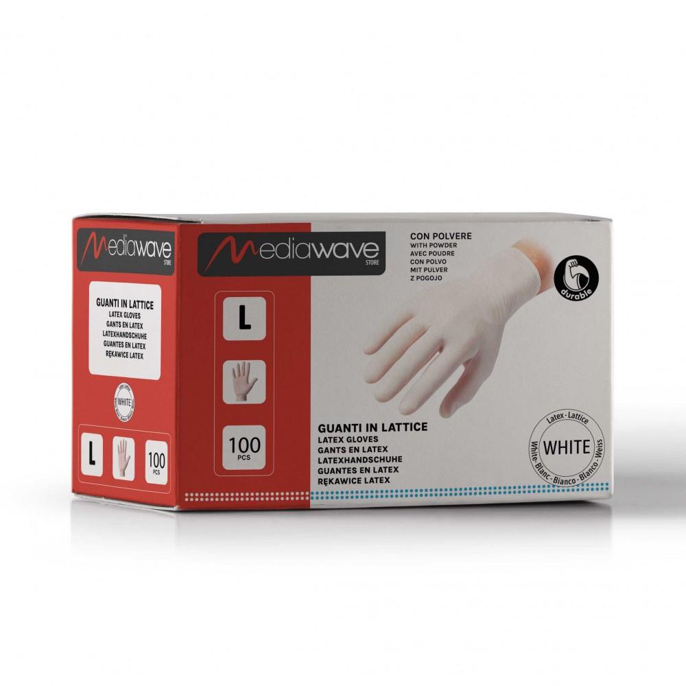 Box 100 pz guanti in LATTICE monouso BIANCHI con talco uso cucina medico