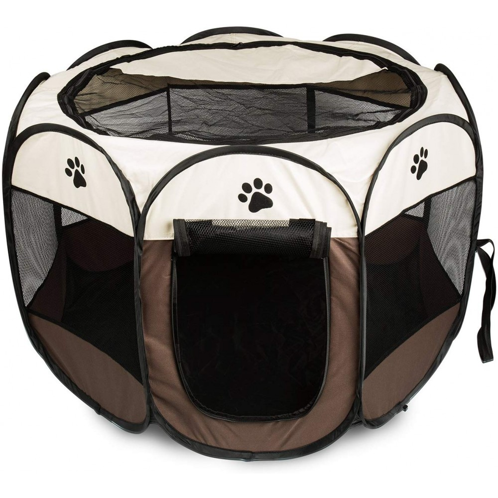 Tenda Box Per Cani Recinto Cuccia Per Piccoli Animali Pop-Up Beige 76x58 cm