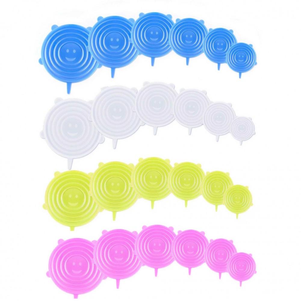 Kit da 6 coperchi magici ermetici 360115 stretch in silicone colorati 6 taglie