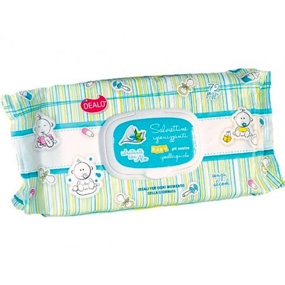 Pack da 72 Salviettine Igienizzanti Dealo Baby arricchite pH 5.5 con Aloe vera