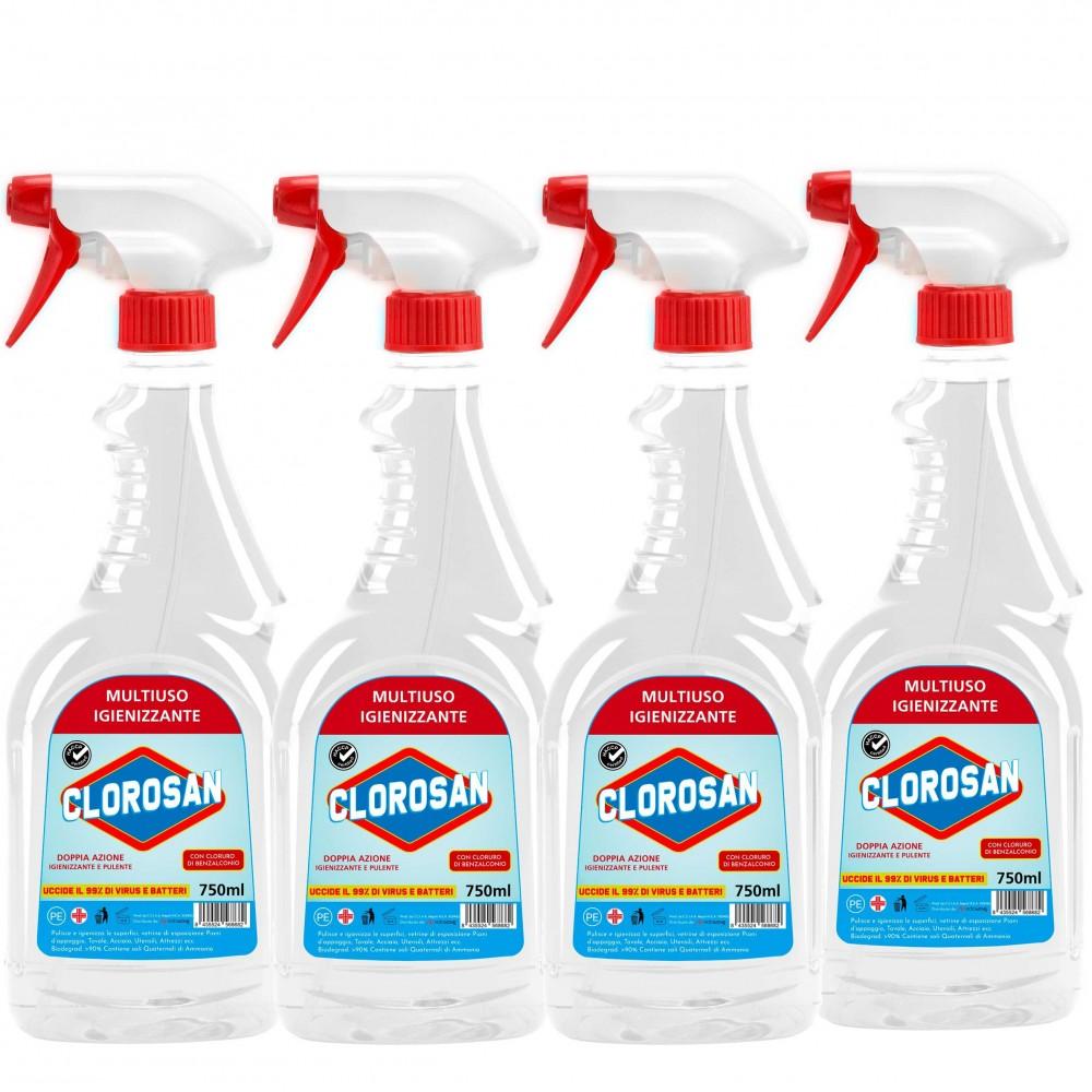 Pack 4 pz CLOROSAN Multiuso Igienizzante superfici 750ml con Benzalconio cloruro