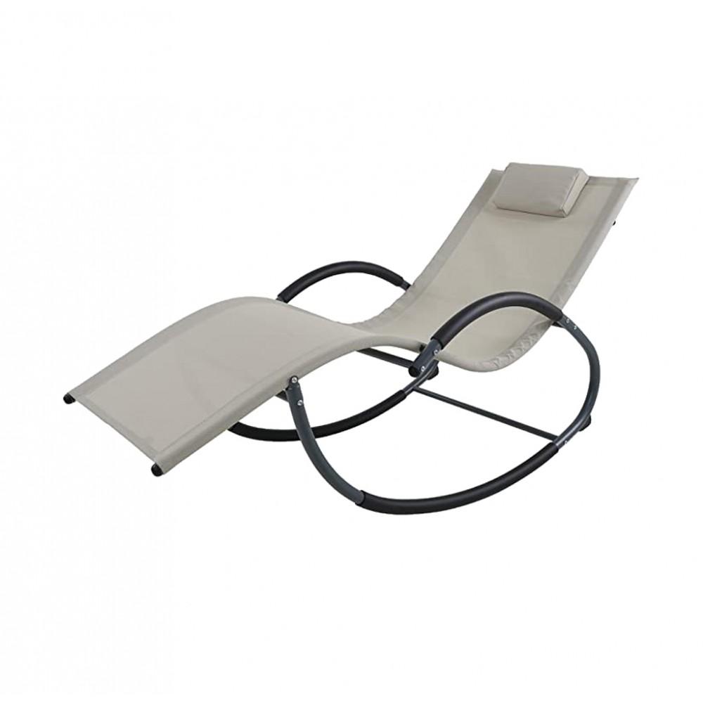 Sedia a sdraio a dondolo HOLLY da giardino reclinabile 3 posizioni 140x63x80 cm