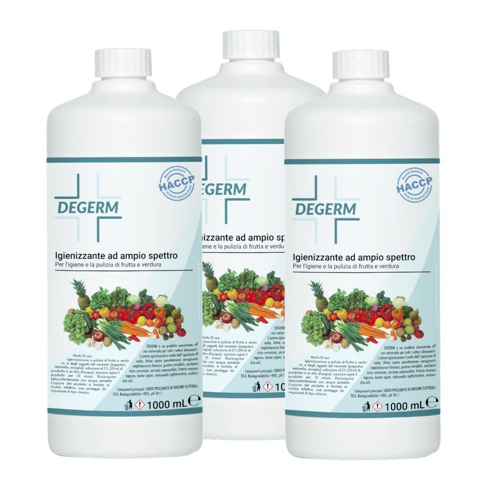 Pack 3 pz DEGERM sanificante e igienizzante per lavare frutta e verdura da 1 LT