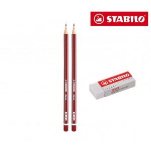 Set 3 pezzi cancelleria Stabilo pack di 2 matite opéra HB e 1 gomma per cancellare
