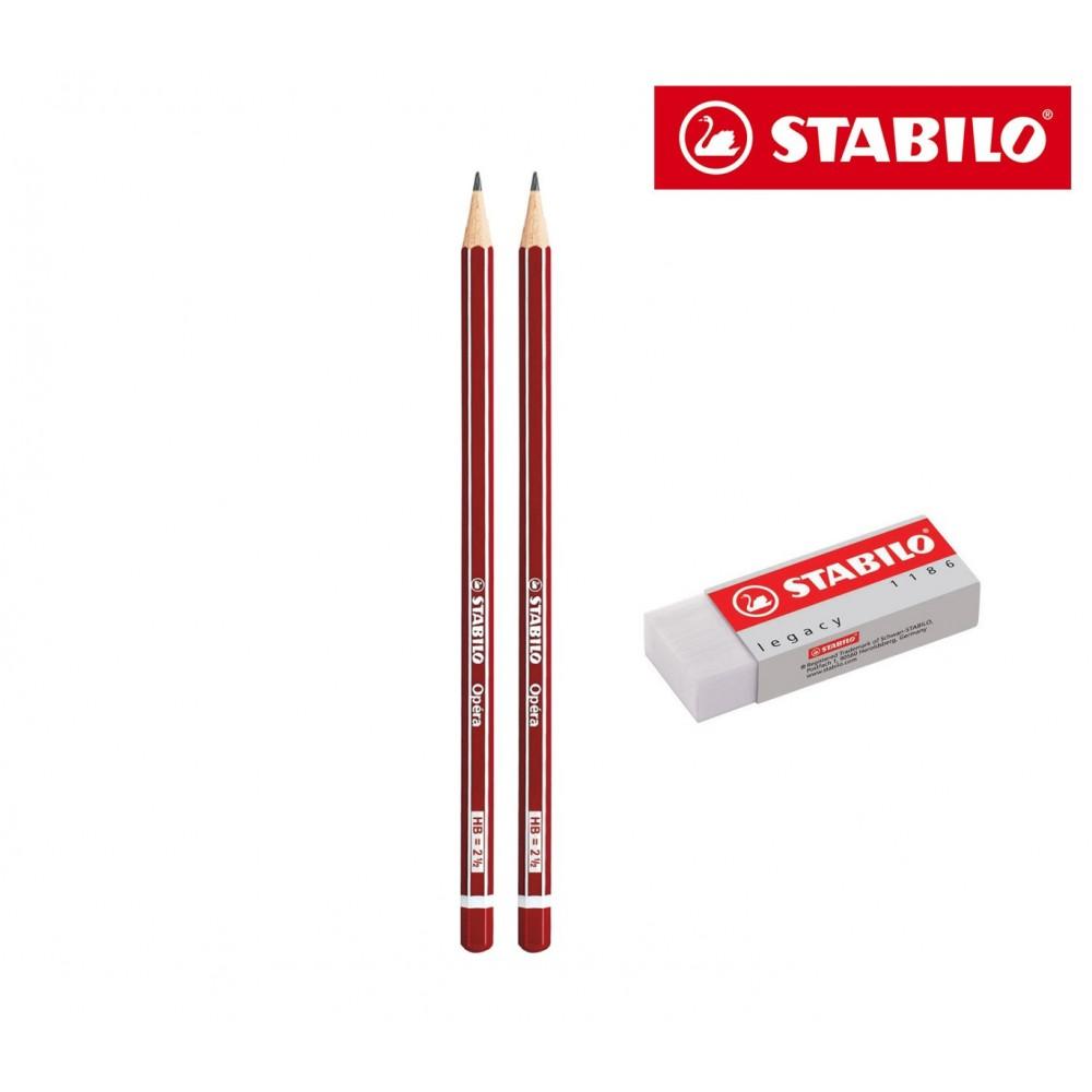 Set 3 pezzi cancelleria STABILO pack 2 matite opéra HB e 1 gomma IT15/2851186