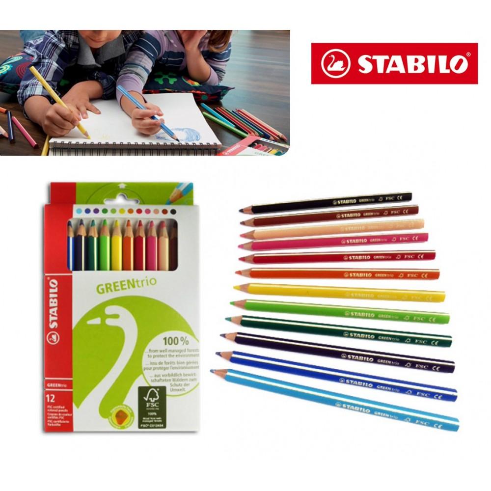 STABILO 12 pastelli colori brillanti green trio con fusto triangolare 6203/12