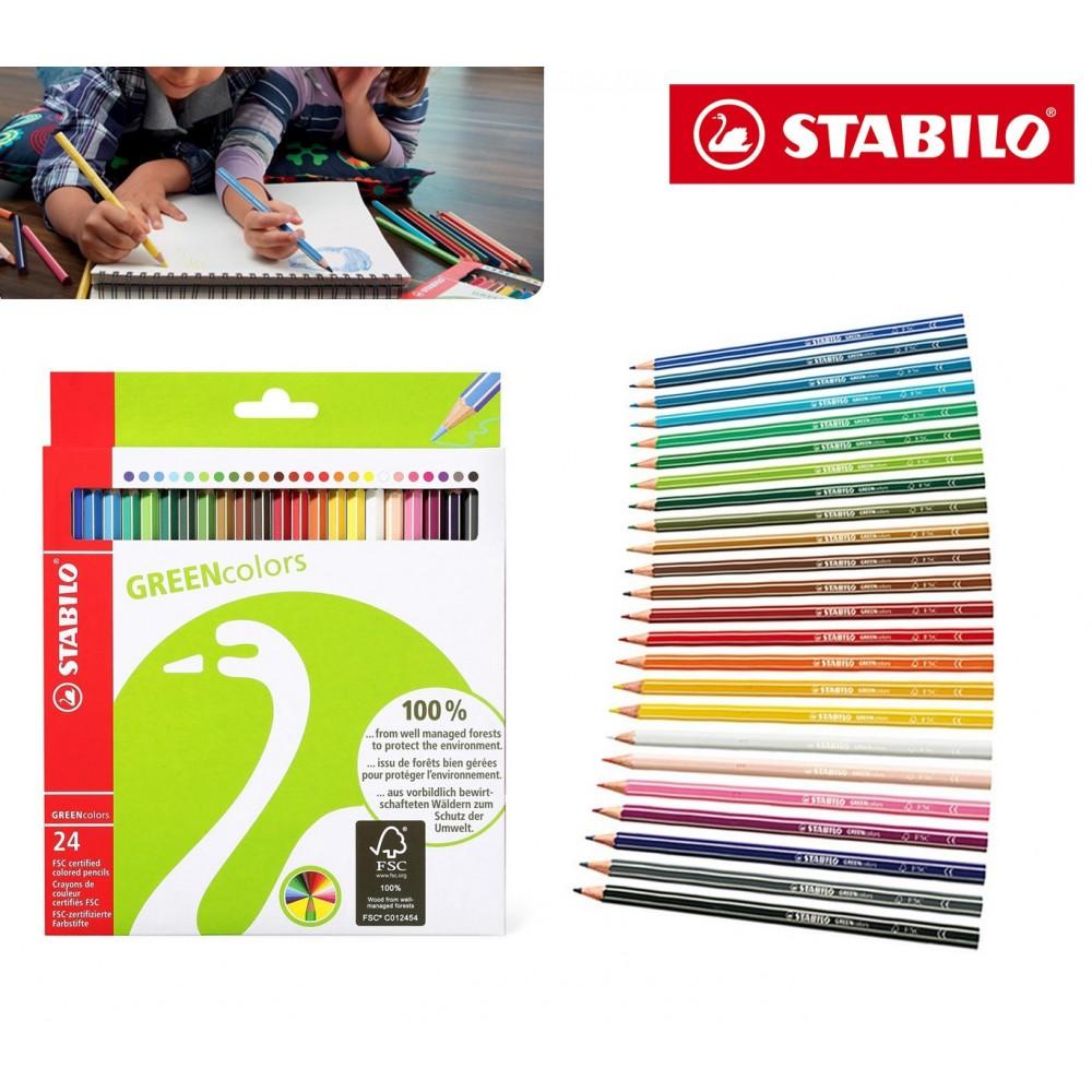 STABILO 24 pastelli colori brillanti green colors fusto esagonale 6019/2-24