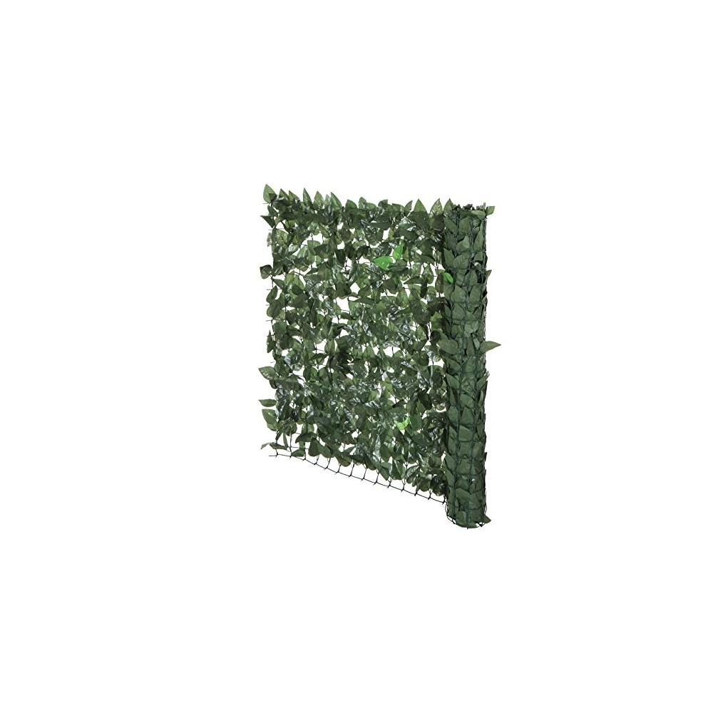 Siepe sintetica realistica con rete edera giardino 1x3 mt collegabili a catena