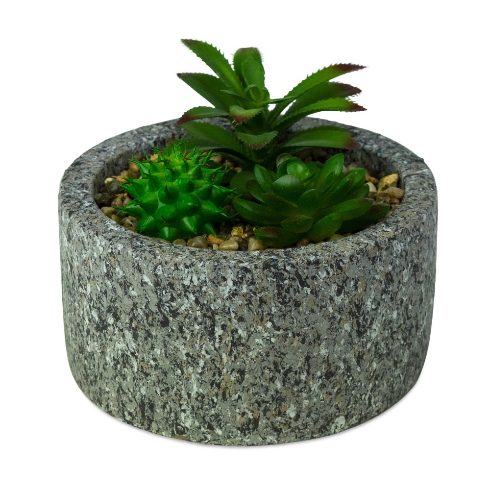 ArtFlowers Pianta grassa artificiale 425145 realistica vaso simil granito Ø16 cm