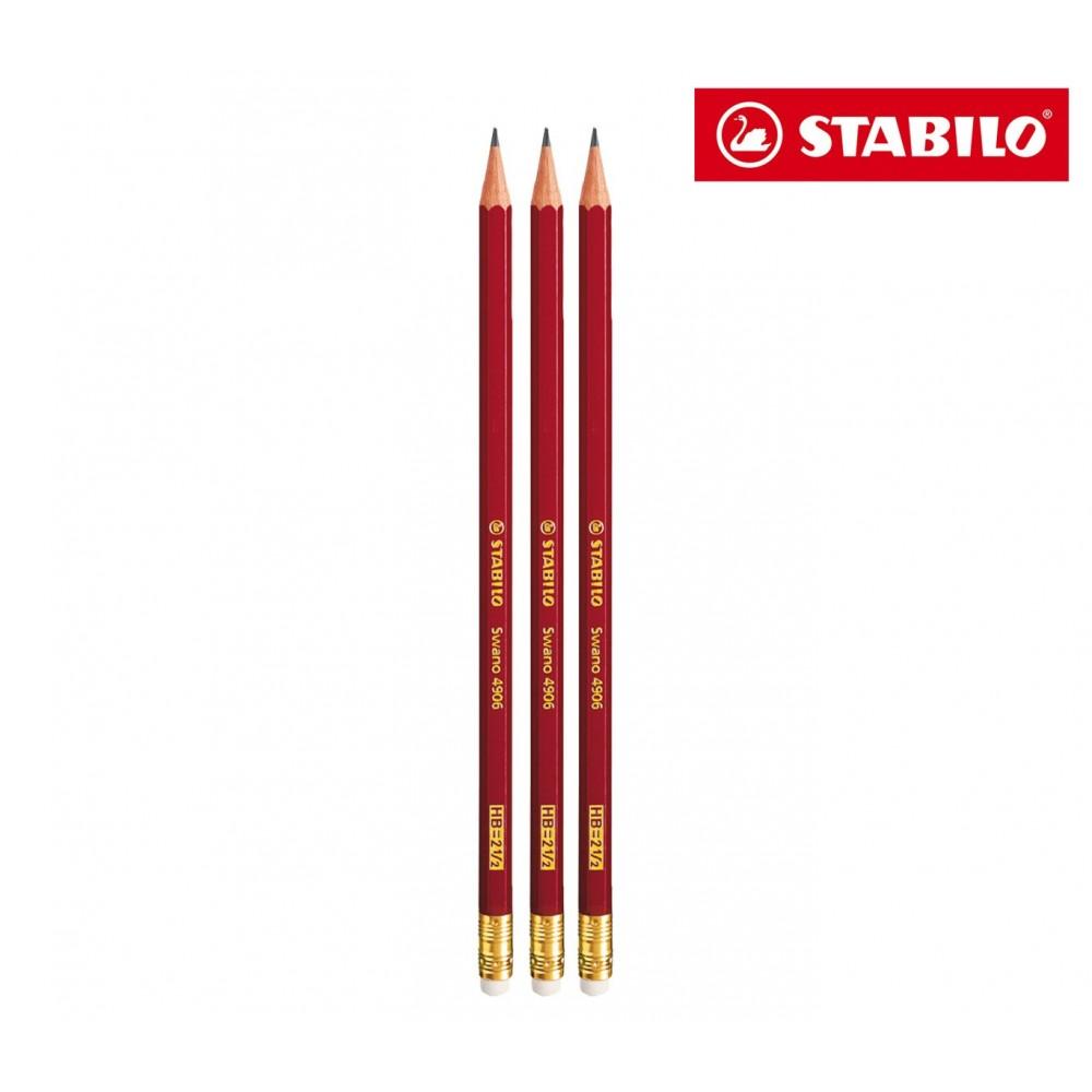 Set 3 matite STABILO modello Swano 4906 con punta HB e gommino IT12/70-49063