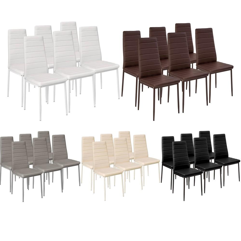 Set di 6 sedie in Ecopelle Modern Design PENNY Seduta imbottita 41x45x98,5cm