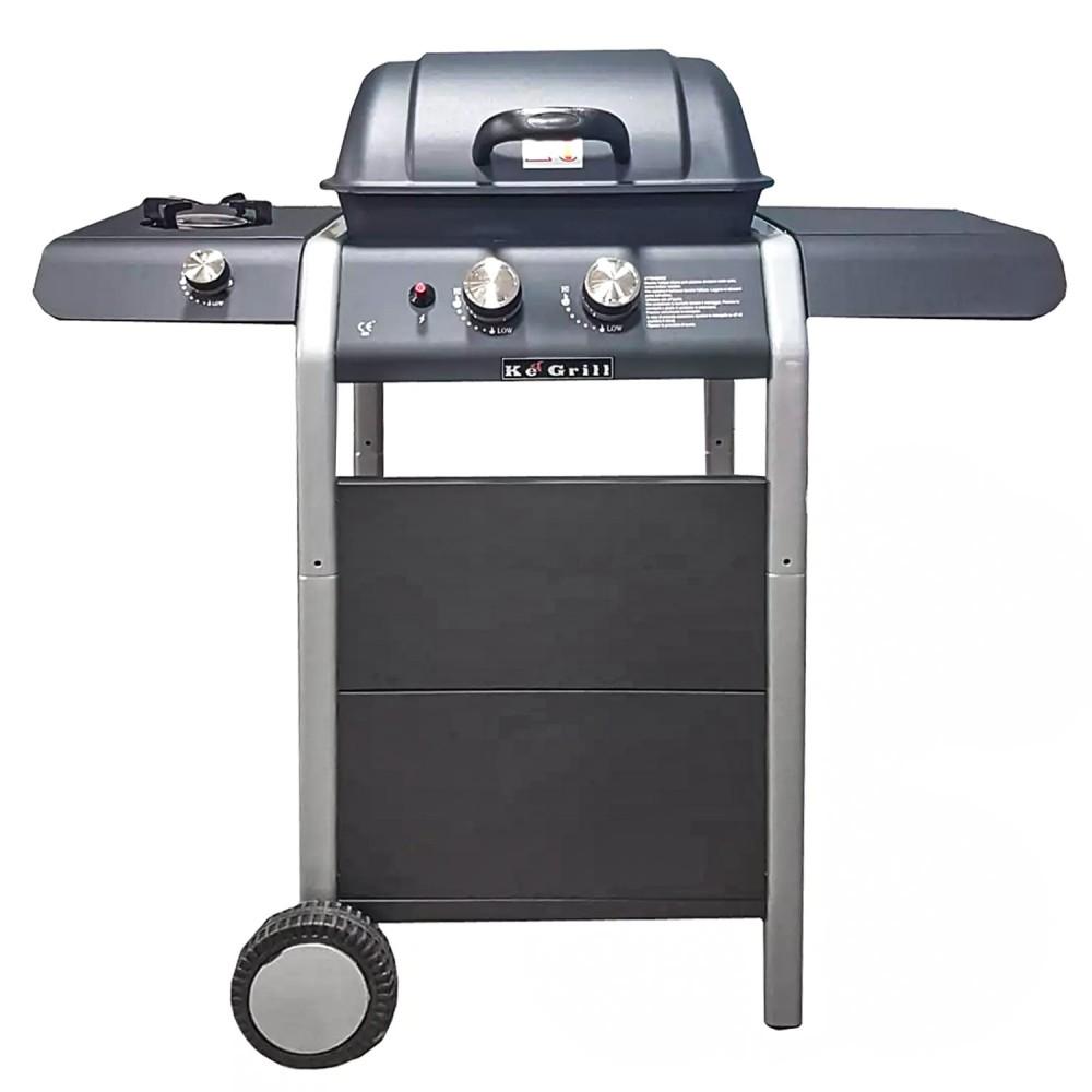 Barbecue KeGrill KE601 Burner pietra lavica 2 fuochi e fornello 110X100X50 cm