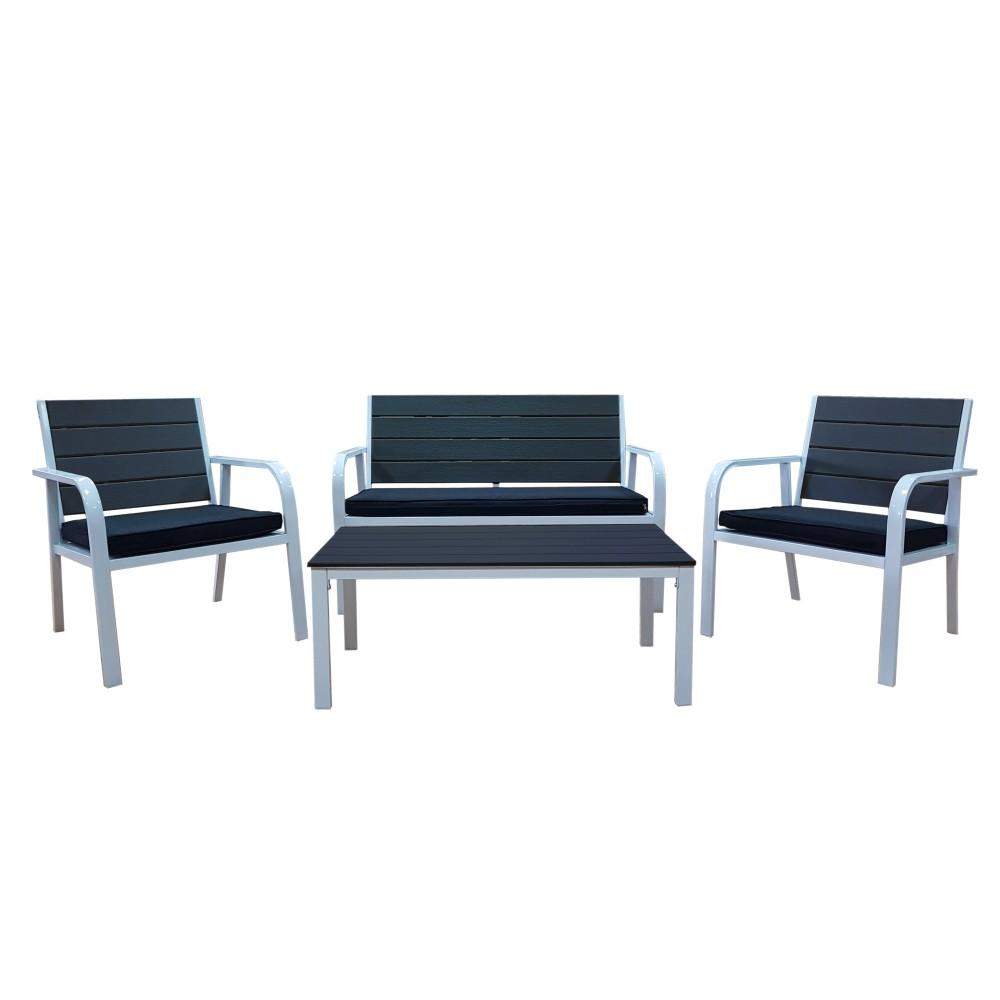 Set completo Dallas tavolo 2 sedie panca da giardino con cuscini