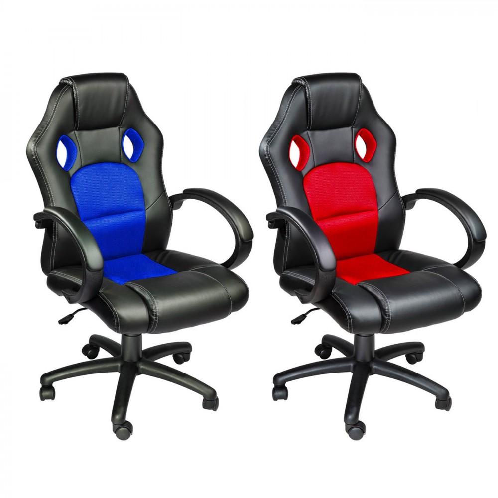 Sedia da ufficio Gaming Racer in ecopelle 4 ruote girevoli Poltrona Direzionale