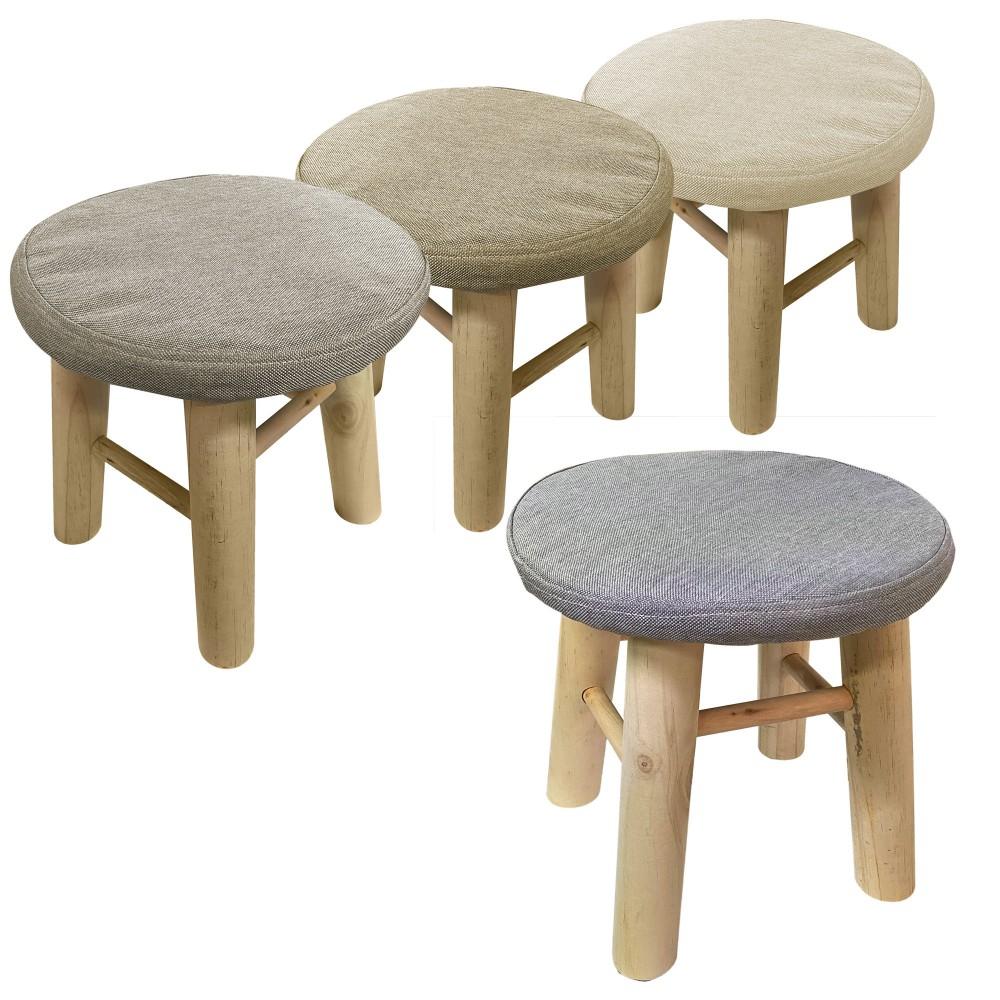 Sgabello tondo poggiapiedi imbottito 225037 gambe in legno di pino 30x30 cm