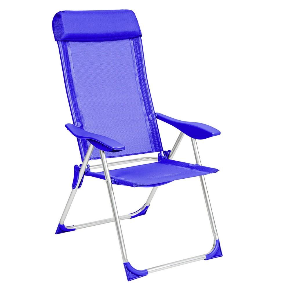 Poltrona sdraio mare reclinabile FORMIA 770459 con braccioli in textilene BLU