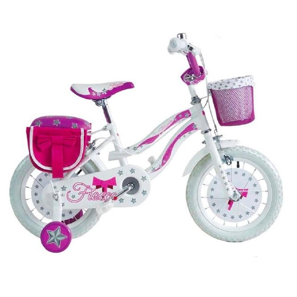 Bicicletta FIOCCO BKT taglia 14 bici per bambina età 4 - 6 anni con rotelle