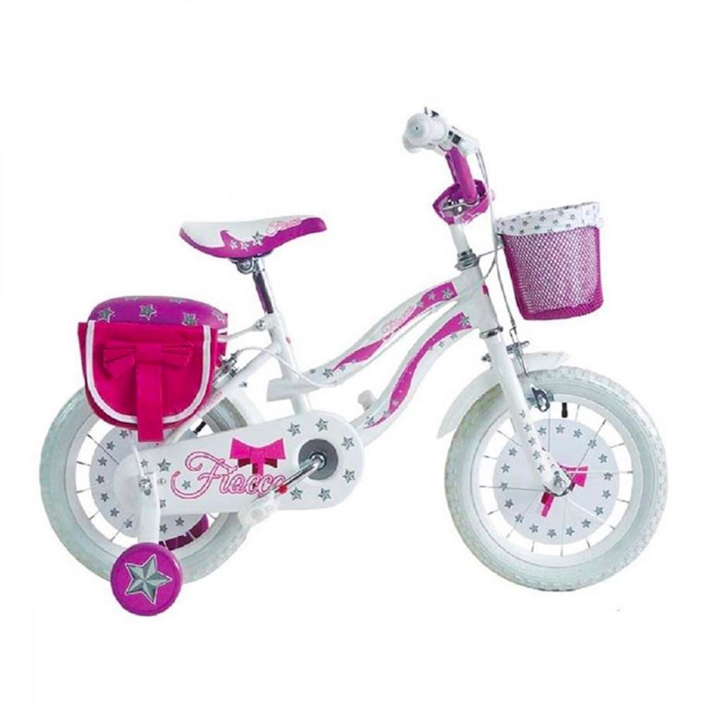 Bicicletta FIOCCO BKT taglia 16 bici per bambina età 5 - 8 anni con rotelle